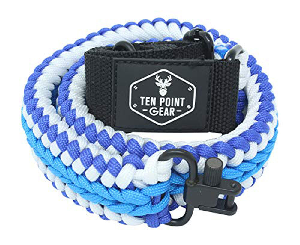 Ten Point Gear Extra Wide Gun Sling Paracord 550 Adjustable w/Swivels (Snow Patrol)