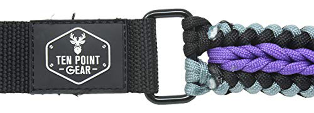 Ten Point Gear Extra Wide Gun Sling Paracord 550 Adjustable w/Swivels (Black, Silver & Fluorescent Purple)