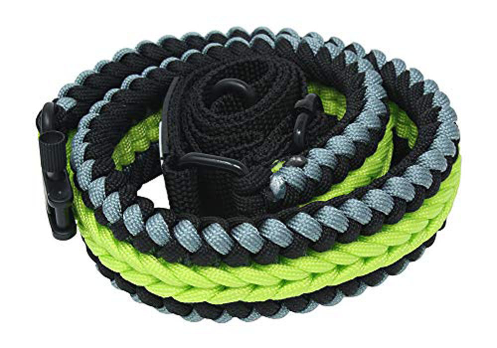Ten Point Gear Extra Wide Gun Sling Paracord 550 Adjustable w/Swivels (Black & Silver & Fluorescent Green)