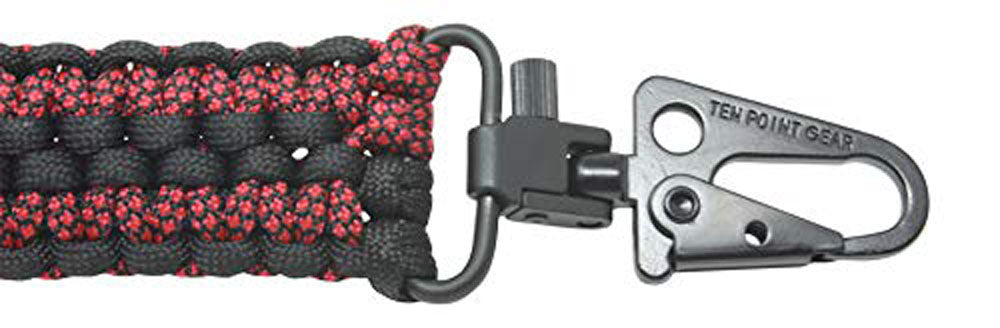 Ten Point Gear Extra Wide Gun Sling Paracord 550 Adjustable w/Swivels (Black & Red Diamonds)