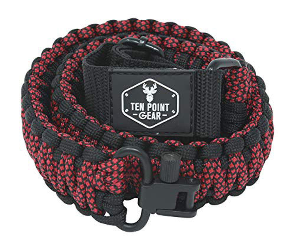 Ten Point Gear Gun Sling Paracord 550 Adjustable w/Swivels (Black & Red Diamonds)