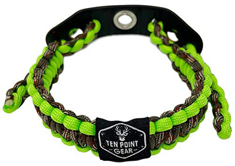 Ten Point Gear Bow Archery Wrist Sling 550 Paracord - Survival Hunting Shooting - Durable Leather with Metal Grommet (Flo-Green & Camo)