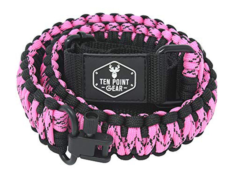 Ten Point Gear Gun Sling Paracord 550 Adjustable w/Swivels (Black & Pink Camo)