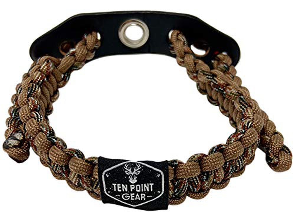 Ten Point Gear Bow Archery Wrist Sling 550 Paracord - Survival Hunting Shooting - Durable Leather with Metal Grommet (Dead Woods Camo)