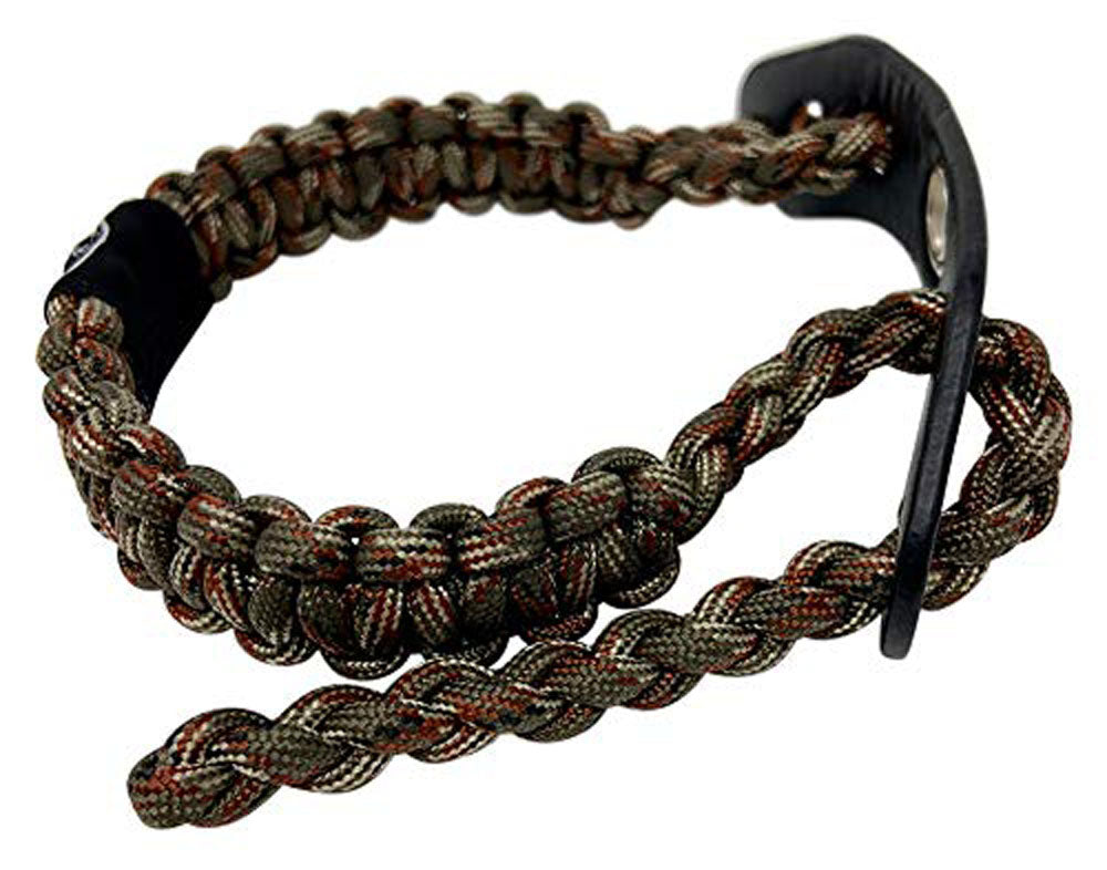 Ten Point Gear Bow Archery Wrist Sling 550 Paracord - Survival Hunting Shooting - Durable Leather with Metal Grommet (Big Woods Camo)