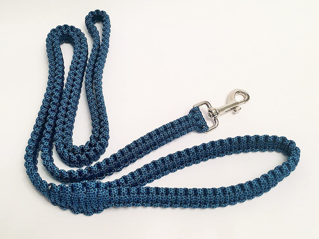 Ten Point Gear 6 Feet Long Nylon Durable & Comfortable Paracord Dog Leash with Strong Metal Clasp (Blue Fleck)