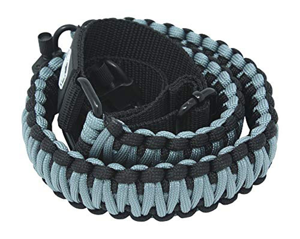 Ten Point Gear Gun Sling Paracord 550 Adjustable w/Swivels (Black & Blued Grey)