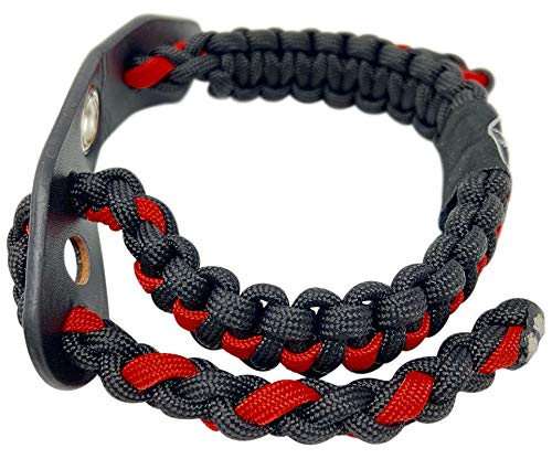 Ten Point Gear Bow Archery Wrist Sling 550 Paracord - Survival Hunting Shooting - Durable Leather with Metal Grommet (Thin Red Line)
