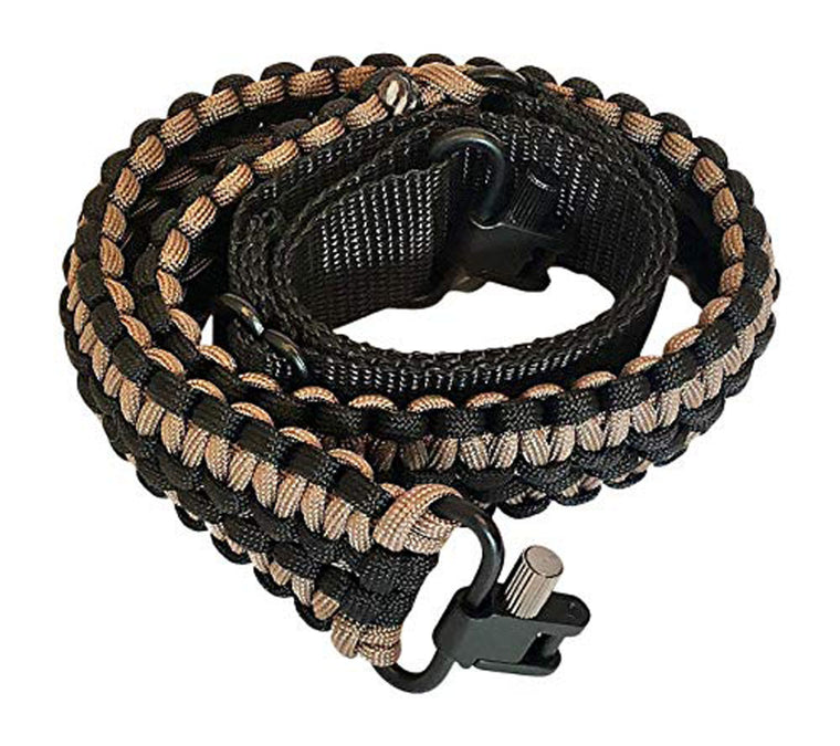Ten Point Gear Extra Wide Gun Sling Paracord 550 Adjustable w/Swivels (Black & Coyote Brown)