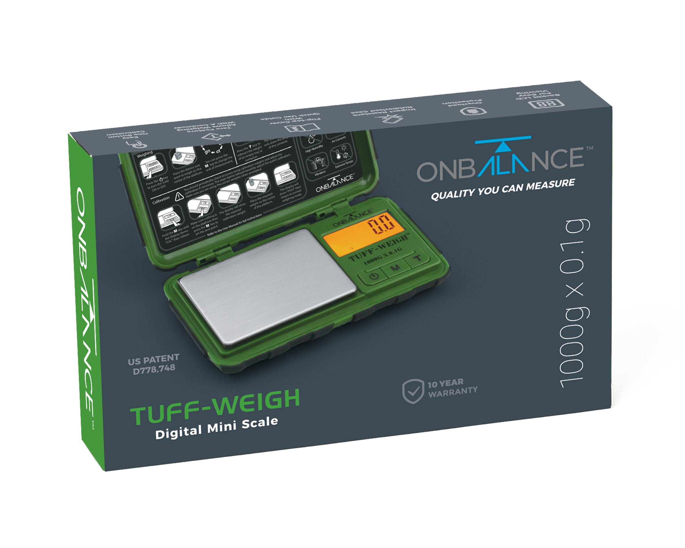 TUF-1000 On Balance Tuff-Weigh Pocket Scale - Green 1000g x 0.1g