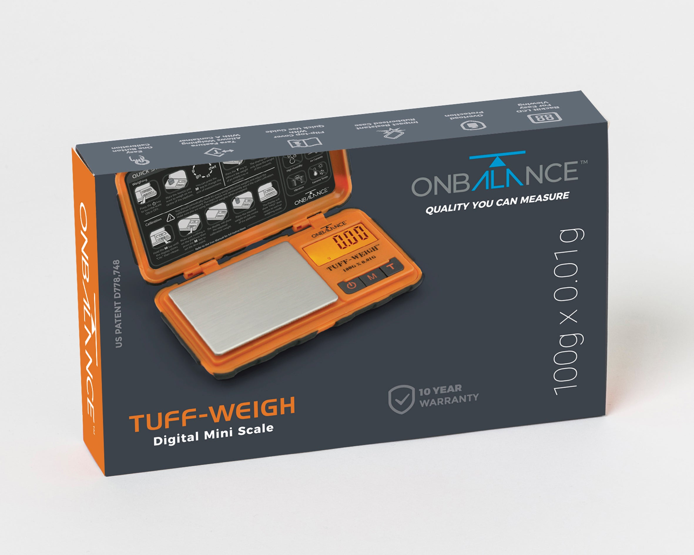TUF-100 On Balance Tuff-Weigh Pocket Scale - Orange 100g x 0.01g