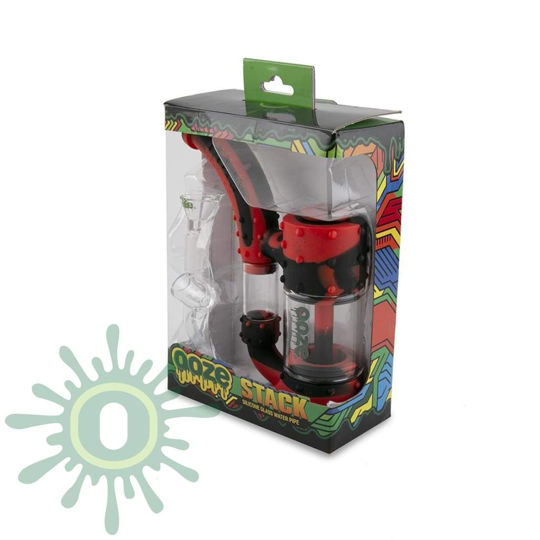 Ooze Stack Pipe Silicone Bubbler - Black / Red