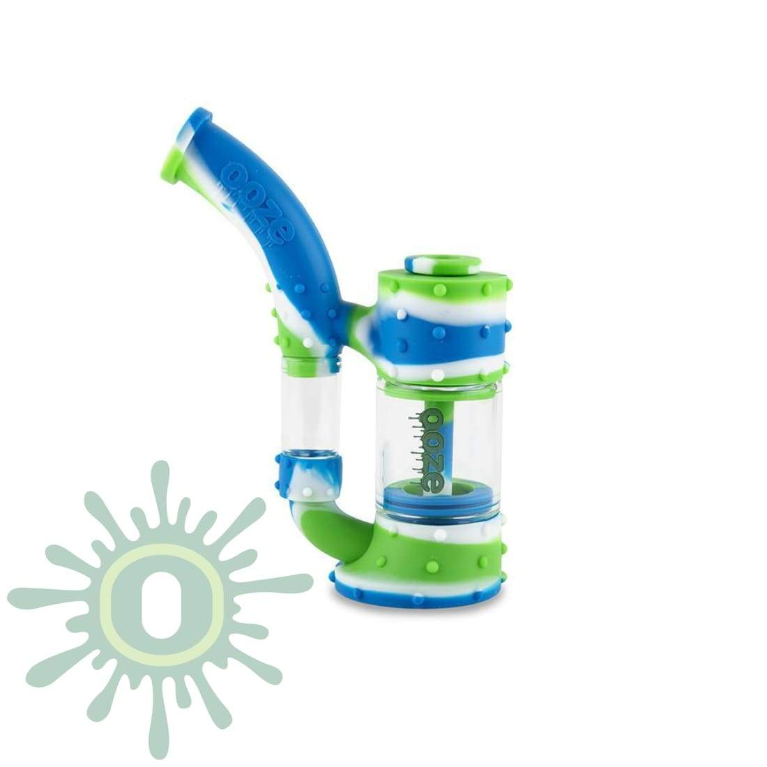 Ooze Stack Pipe Silicone Bubbler - Blue / White Green And Glass Water
