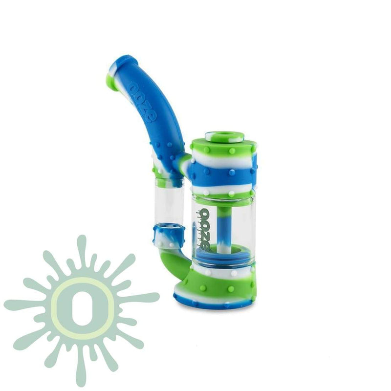 Ooze Stack Pipe Silicone Bubbler - Blue / White / Green