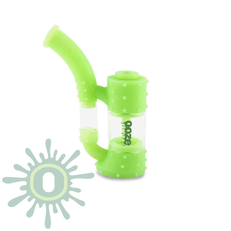Ooze Stack Pipe Silicone Bubbler - Green Glow And Glass Water