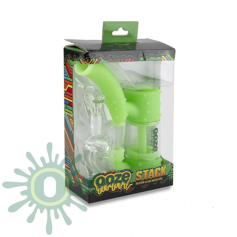 Ooze Stack Pipe Silicone Bubbler - Green Glow