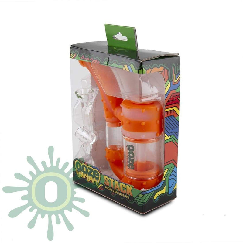 Ooze Stack Pipe Silicone Bubbler - Orange / Clear