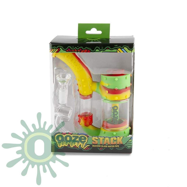 Ooze Stack Pipe Silicone Bubbler - Rasta