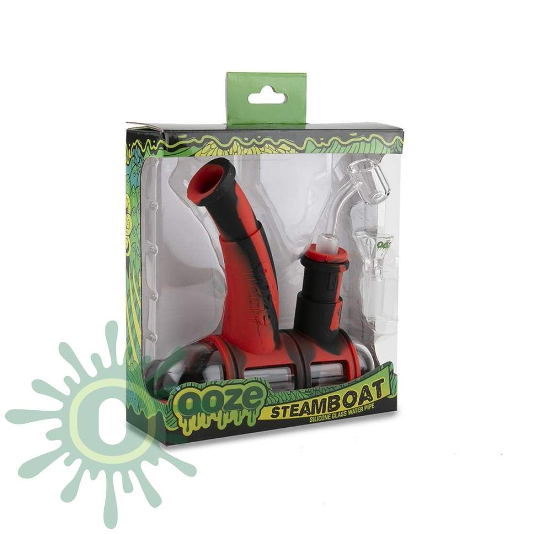 Ooze Steamboat Silicone Bubbler - Black / Red