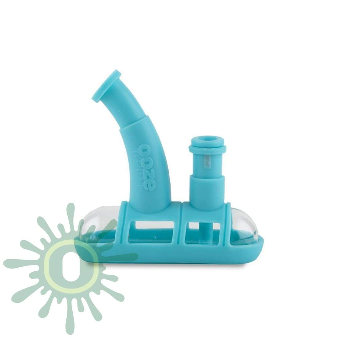Ooze Steamboat Silicone Bubbler - Teal And Glass Water Pipe