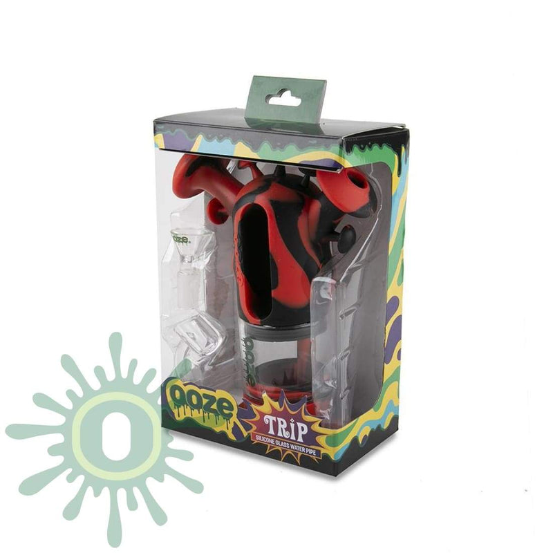 Ooze Trip Pipe Silicone Bubbler - Black / Red