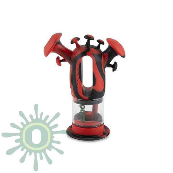 Ooze Trip Pipe Silicone Bubbler - Black / Red And Glass Water