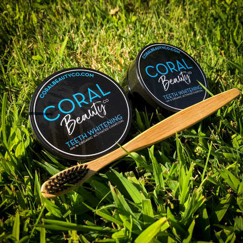 2 Teeth Whitening Powders + 1 Bamboo Toothbrush + FREE Shipping!
