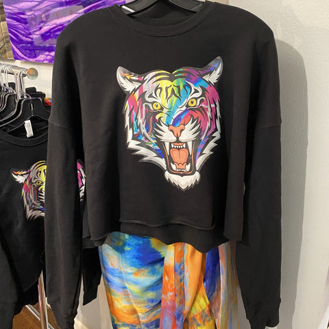 Badass Tiger Cropped Sweatshirt