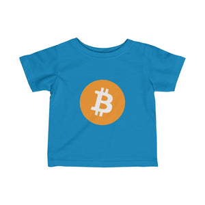 Infants Cobalt Blue TShirt With Orange and White Bitcoin Logo