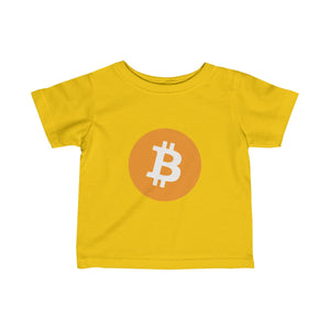 Infants Yellow TShirt With Orange and White Bitcoin Logo