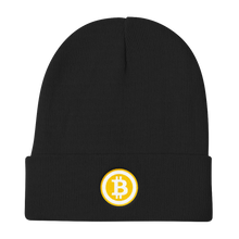 Load image into Gallery viewer, Black Beanie With Embroidered White and Orange Bitcoin Logo