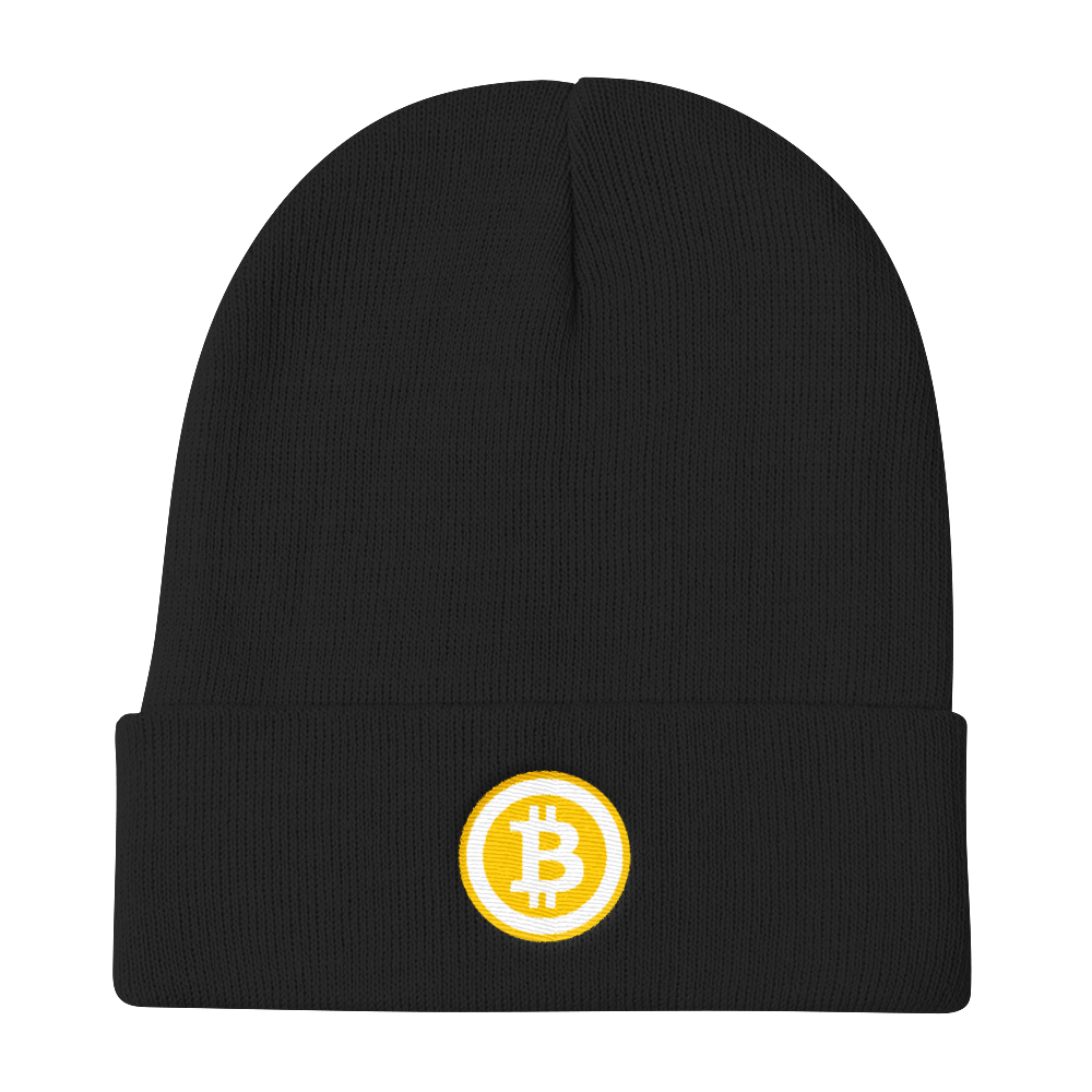 Black Beanie With Embroidered White and Orange Bitcoin Logo
