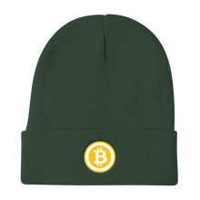 Load image into Gallery viewer, Dark Green Beanie With Embroidered White and Orange Bitcoin Logo