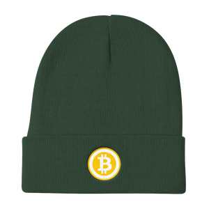 Dark Green Beanie With Embroidered White and Orange Bitcoin Logo
