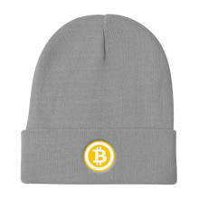 Load image into Gallery viewer, Grey Beanie With Embroidered White and Orange Bitcoin Logo