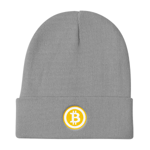 Grey Beanie With Embroidered White and Orange Bitcoin Logo