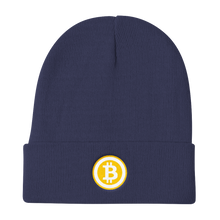 Load image into Gallery viewer, Navy Blue Beanie With Embroidered White and Orange Bitcoin Logo
