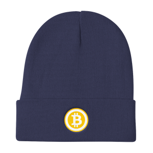 Navy Blue Beanie With Embroidered White and Orange Bitcoin Logo