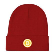 Load image into Gallery viewer, Red Beanie With Embroidered White and Orange Bitcoin Logo