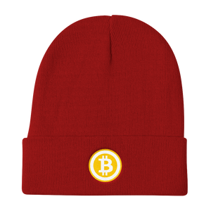 Red Beanie With Embroidered White and Orange Bitcoin Logo