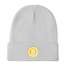 Load image into Gallery viewer, White Beanie With Embroidered White and Orange Bitcoin Logo