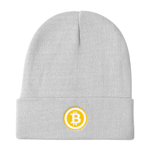 White Beanie With Embroidered White and Orange Bitcoin Logo