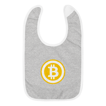 Load image into Gallery viewer, Grey Baby Bib With White Trim Embroidered Bitcoin Logo
