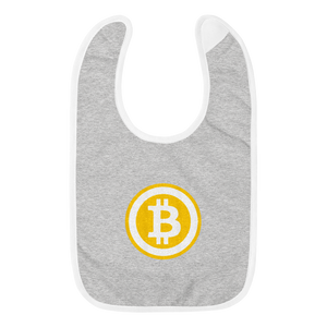 Grey Baby Bib With White Trim Embroidered Bitcoin Logo