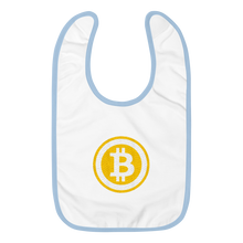 Load image into Gallery viewer, White Baby Bib With Light Blue Trim Embroidered Bitcoin Logo
