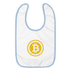 White Baby Bib With Light Blue Trim Embroidered Bitcoin Logo