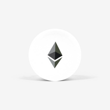 Load image into Gallery viewer, White Ethereum Popsockets With Black and Grey Ethereum Logo Front View