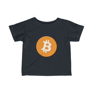 Infants Black TShirt With Orange and White Bitcoin Logo