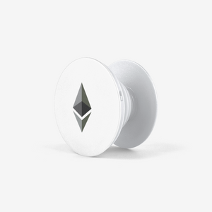 White Ethereum Popsockets With Black and Grey Ethereum Logo Front View