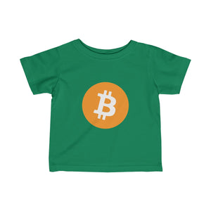 Infants Green TShirt With Orange and White Bitcoin Logo